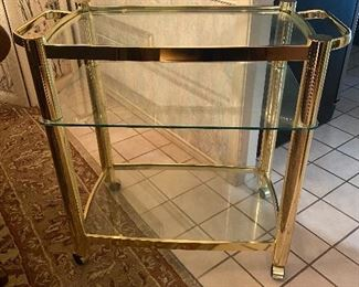 Brass & glass serving cart.