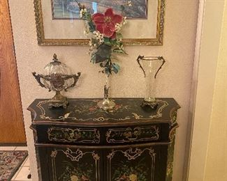 Lovely black cabinet with floral accents....just beautiful!!!