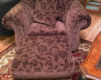 Very comfy chocolate brown chair & ottoman.