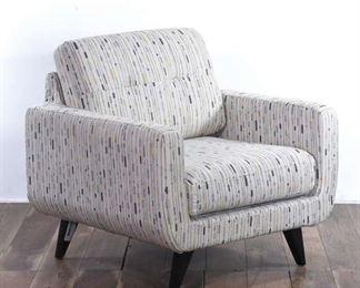 White With Black & Tan Retro Stripes Armchair