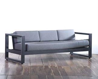 Contemporary Gray Upholstered Metal Frame Patio Sofa