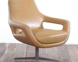 Mid Century Modern Style Tan Leatherette Swivel Chair