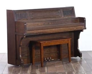 Heritage Upright Piano With Wood Bench