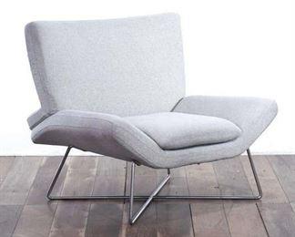 Mid Century Style Grey Upholstery Hairpin Leg Armchair