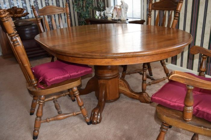 """Oak Pedestal Table with 4 Chairs 55"""" including 18"""" Leaf"""