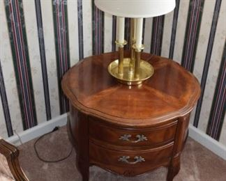 """27"""" Round Drum Table with 2 Drawers"""