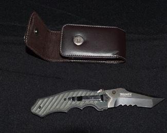 Triumph Crawford Design Lock Blade Pocket Knife and Leather Sheath