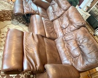 """2.Brown leather sofa double recliner 85""""L x 38""""D x 39""""H $350"""