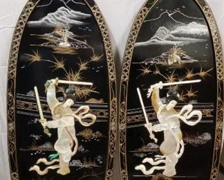 Vintage Chinese Black Lacquer Wall Art.  Handpainted mother of pearl.