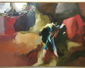 """""""Bullfight"""" Original Large Oil Painting purchased in Portugal in 1969 with paperwork/COA.  39.5x59""""."""