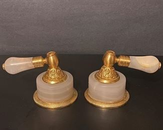 Pink Onyx & burnished gold plated over solid brass                         Click on the Blue Tab link to Capitol Sales Services Hibid page to register and to place bids on items as presented in the catalog.  https://capitolsalesservices.hibid.com