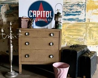 Vintage metal dresser/chest of drawers, mid century Bauer Pottery jardiniere, and many other unique items .........To Register and To Bid go to   https://capitolsalesservices.hibid.com