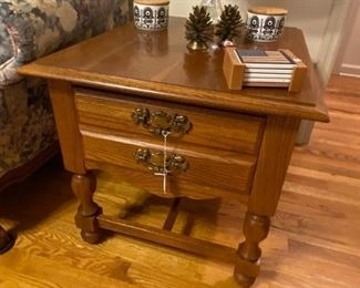 Pair of Broyhill Oak End Tables