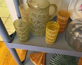 Mid Century Spaghetti String Pitcher and 4 Glasses