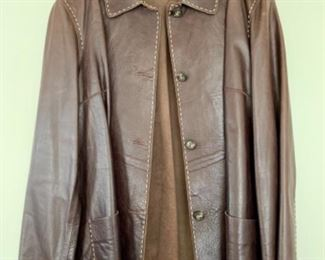 $95 - #2 SFA Real Clothes Vintage leather jacket with leather buttons and stitched trim.  Stitched trim, Size L