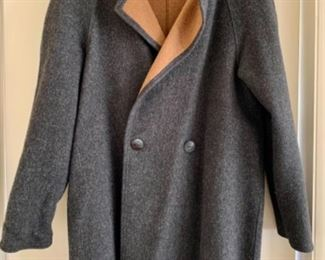 $175- #6 Peruvian Connection gray and camel alpaca blend raglan sleeve coat; size L