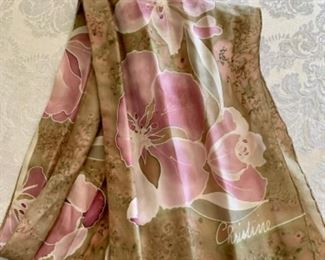$30 - Scarf #1; Hand dyed silk; signed Christine