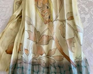 $30 - Scarf #4; Hand painted silk  scarf signed Seeta