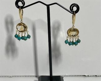 14k citrine and turquoise earrings - 150 dollars