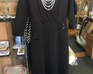 Black dress white necklace