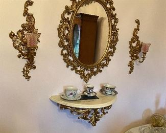 Home Interior Mirror with Sconces and Shelf