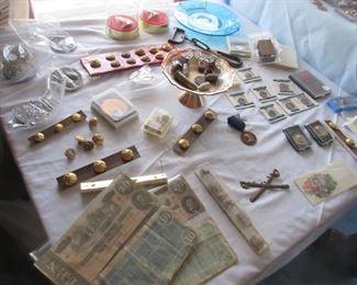 Civil War buttons, emblems, and money