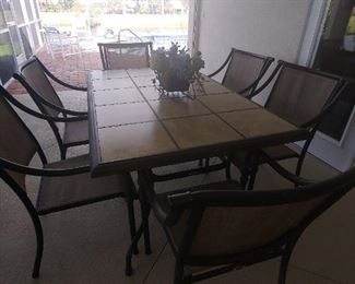 Patio Dining with 6 Chairs.  Tile Insert Table Top