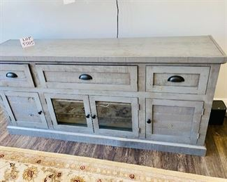 """Lot 5505. $395.00. Cute Farmhouse Style Gray Media Cabinet or Credenza, 3 Drawers, 2 solid Cabinet Doors & 2-glass doors. So Darling!  69"""" w xc 17"""" deep x 32"""" H"""