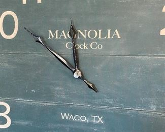 """Lot 5502 $125.00. Magnolia Clock Co., Waco. Ginormous 48"""" Clock, in a Blue-Green Vintage Look, in the farmhouse style Joanna Gaines herself has made popular!"""