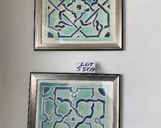 "Lot 5509  $60.00  Set of 3 Coordinating Cool Water Color Prints with Geometric Designs in Shades of Green, 18""x 18"" by Wendover Art Group, Made in USA"