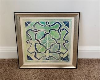"""Lot 5509  $60.00  Set of 3 Coordinating Cool Water Color Prints with Geometric Designs in Shades of Green, 18""""x 18"""" by Wendover Art Group, Made in USA"""