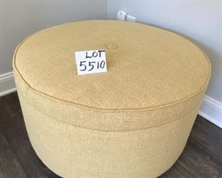 Lot 5510  $225.00.  33' Diam. Super Nice Round Yellow/tan Ottoman with Great Storage (Blankets, Magazines, Remote Controls...). Made for Jonathon Lewis.  Microfiber Lined Storage and Casters.  Very Heavy Piece.