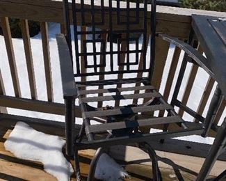 Lot 5516. $85.00. Outdoor Bistro Table and Two Swivel Chairs.  The tabletop needs to be scraped and spray painted, the two chairs are in good shape, they come with two turquoise chair pads.  Bistro table height.