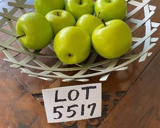 """Lot 5517. $22.00. Charming Decor - Silver Footed Woven Metal Basket  15"""" diameter, with 8 Granny Smith Apples that you'd swear are real!  Terrific Centerpiece"""