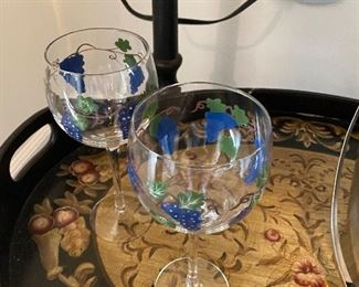 Lot 5519. $48.00. Nice OXO Ice Bucket with Tongs, Two adorable hand-painted wine glasses, and Oster wine opener.