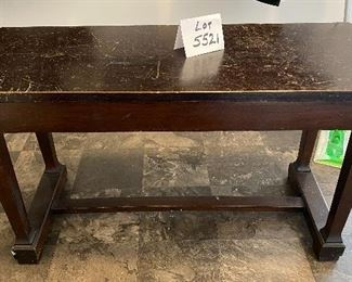 Lot 5521   $46.00  Vintage Mud Room Bench in Dark Brown, well -worn top and opens to storage, Great DYI Project.  Great Bones!