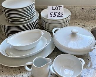 """Lot 5522.   $145.00  38  pieces of """"Pacifica"""" fine china made in Portugal and purchased at Williams Sonoma 10 - dinner plates; 12 salad plates; 11 bowls; 1 cream & sugar set; 1gravy boat with attached plate; a 12"""" oval platter; 10"""" covered casserole;   and a 10"""" x 7.5"""" oval bowl."""