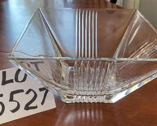 """Lot 5527.  $85.00  Tiffany 8"""" square crystal bowl with a stripe design.  Beautiful and Like New, Excellent Condition, with Tiffany sticker"""