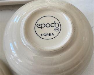 Lot 5536.  $30.00  Epoch Korea Cream & Sugar set and a butter dish.