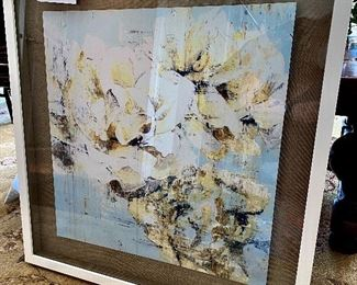 """Lot  5549.  $60.00  Beautifully framed painting on particleboard in a lined, shadowbox frame. 28"""" square."""