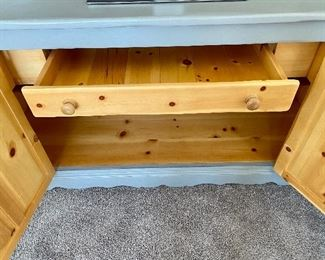 """Lot 5582.   $425.00   Painted Pine credenza with great storage and 2 cabinet doors and 1 drawer.  72"""" L x 23"""" D x 35>5"""" H"""