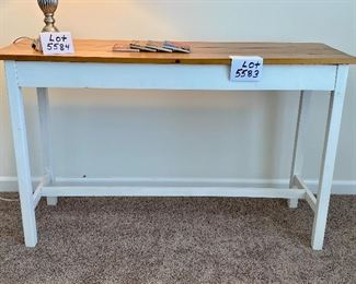 """Lot 5583.  $95.00  Rustic reproductions sofa table.  Pinewood plank with white base and 4 posters. 48"""" L x 16"""" D x 29"""" H.  We included 4 coasters by Detroit Coaster Co."""