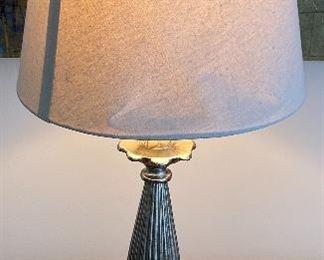 "Lot 5584.   $48.00  Antiqued silver table lamp base with artichoke detail.  28"" H x 5"" sq base."
