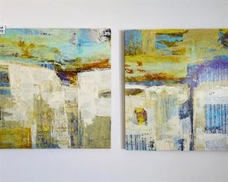 """Lot 5585.   $175.00  Two stretch canvas giclee paintings.  40"""" x 40"""" each, wood frames.  titles """"Concordant 1"""" and """"Concordant II""""."""