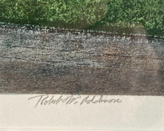 "Lot 5592.   $475.00  Robert William Addison ""Northern Summer"" Original Serigraph, 1981, Artist Proof 7/25. 200 total impressions. Purchased at Merrill Chase Galleries, COA on back. Forgive the glare!!  Addison is a highly collected artist."