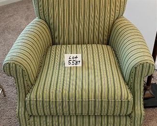 Lot 5587. $275.00. Crate & Barrel accent chair in a green and gray striped pattern.  Firm and comfortable.