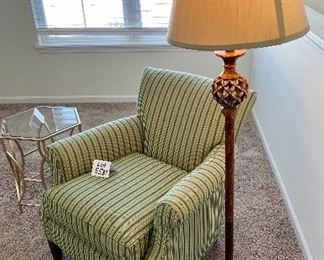 """Lot 5588.   $85.00.  Antiqued wood-tone metal floor lamp.   Base: 9.5"""" square, the lamp is 61"""" H; the shade is 14"""" diameter"""
