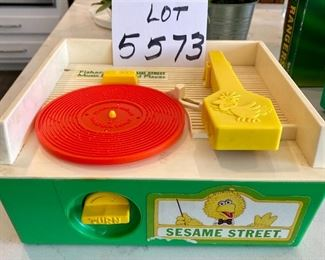 Lot 5573. $35.00. Fisher Price Sesame Street Music Box Record Player w/four records; works!  1984.