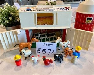 Lot 5571. $35.00. Very Collectible 1967 Fisher Price Family Play Farm, includes Barn, Silo, 3 Fences, Horse, Cow, Feeder. Rooster, Pig, Hen, sheep, Farmers, Dog