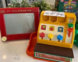 Lot 5574. $40.00. Ohio Art Magic Etch-A-Sketch, Fisher Price Cash Register w/5 coins, both collectible and in great shape